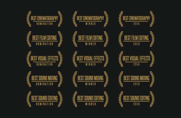 Печать Movie award technical nomination winner best cinematography visual effects sound editing vector logo icon set critic stock illustrations