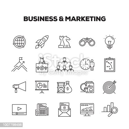 BUSINESS & MARKETING LINE ICONS SET