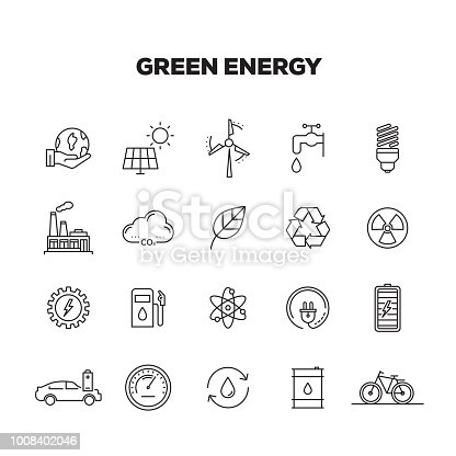 GREEN ENERGY LINE ICONS SET