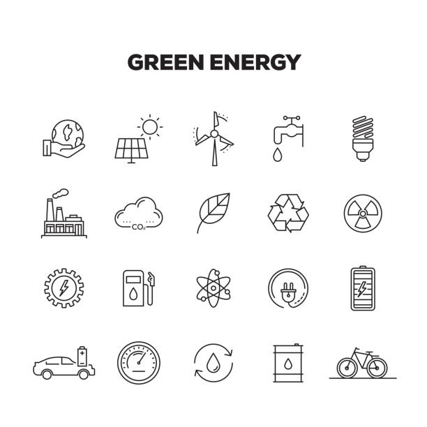 green energy line icons set - sustainability stock illustrations