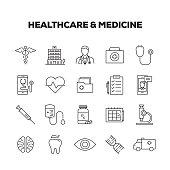 HEALTHCARE & MEDICINE LINE ICONS SET
