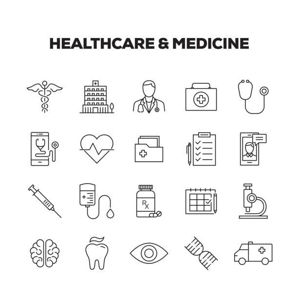 HEALTHCARE & MEDICINE LINE ICONS SET HEALTHCARE & MEDICINE LINE ICONS SET conceptual symbol stock illustrations