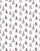 ABSTRACT CHRISTMAS TREES BRUSH ART. SEAMLESS VECTOR PATTERN.