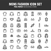 It's a set of icons about men's fashion. This content provides clothing, general merchandise, etc. Editable stroke. 48x48 Pixel Perfect.
