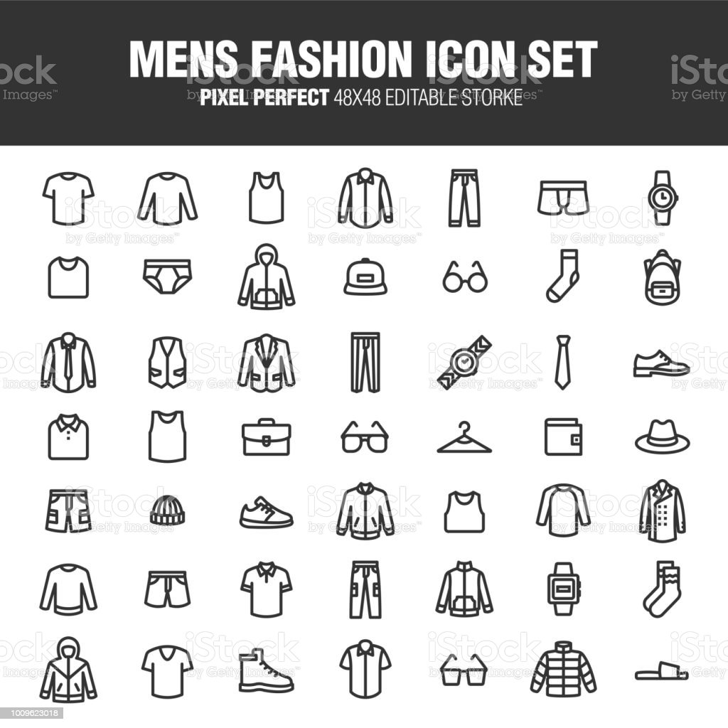 MENS FASHION ICON-SET – Vektorgrafik