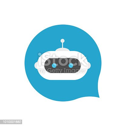 Chat bot icon sign on blue background