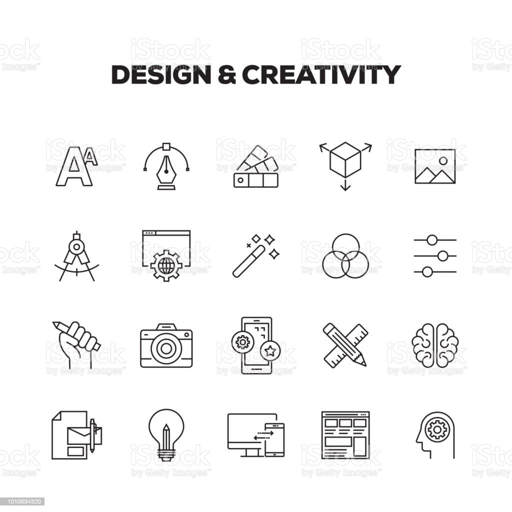 DESIGN AND CREATIVITY LINE ICONS SET