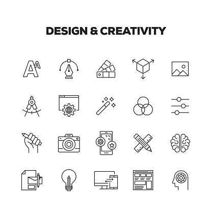 DESIGN AND CREATIVITY LINE ICONS SET clipart