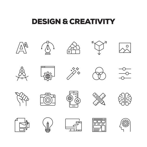 DESIGN AND CREATIVITY LINE ICONS SET DESIGN AND CREATIVITY LINE ICONS SET creative occupation stock illustrations