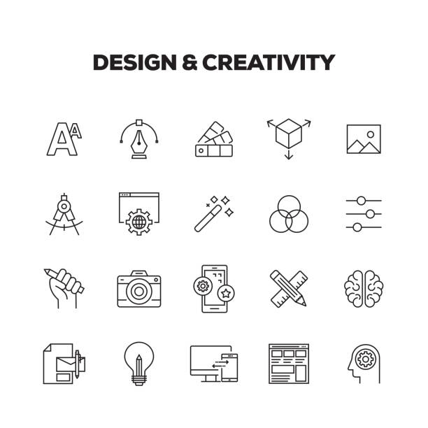 design and creativity line icons set - creative stock illustrations