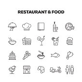 RESTAURANT AND FOOD LINE ICONS SET