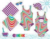 Vector Fashion Illustration of Baby Toddler Girl Outfits / Swimsuit Front & Back, Hat & Sunglasses / Two Seamless patterns saved with Global Colors in Swatches Panel / Isolated flat sketches and design elements in separate layers