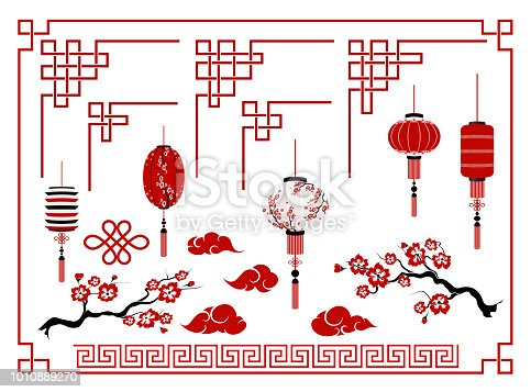 Happy Chinese new year.  Traditional   elements ornaments, Chinese lights, clouds, Sakura,  Chinese lanterns.  Design template calendar, invitation, booklet , holiday decoration. Isolated. Vector