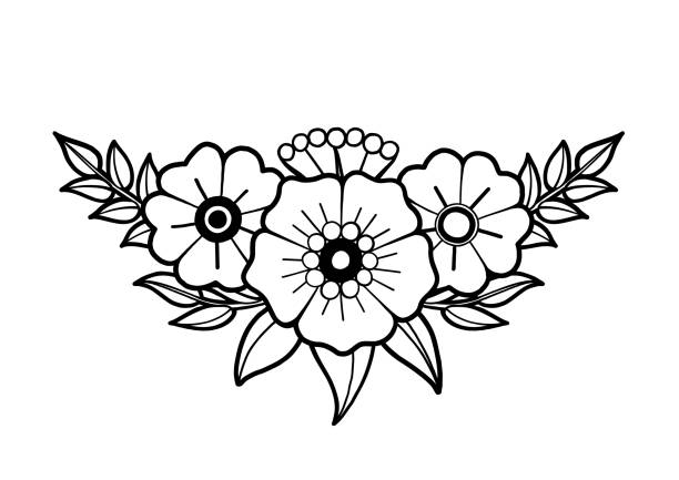 Основные RGB Graphic floral vignette isolated on white background. Vector old school tattoo design. Traditional style. Coloring book page for adults and kids flowers tattoos stock illustrations