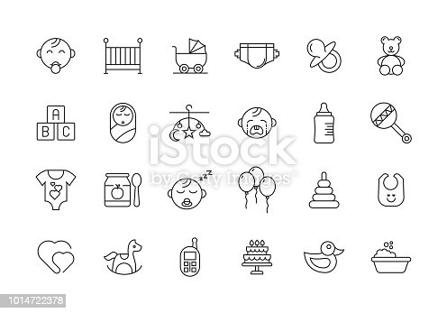 BABY AND CHILDREN LINE ICON SET