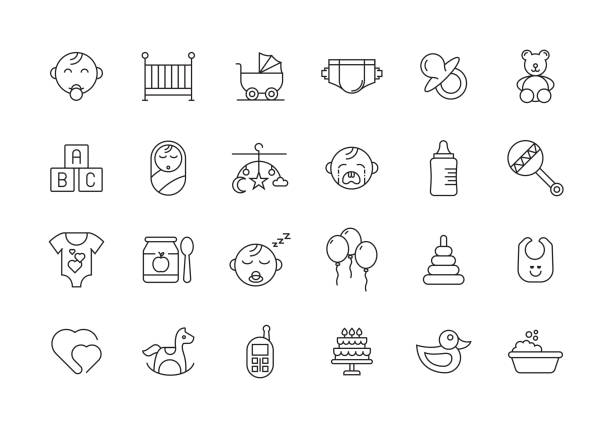 赤ちゃんと子供ライン アイコン セット - 保育点のイラスト素材/クリップアート素材/マンガ素材/アイコン素材