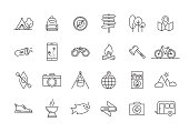 CAMPING AND OUTDOOR LINE ICON SET