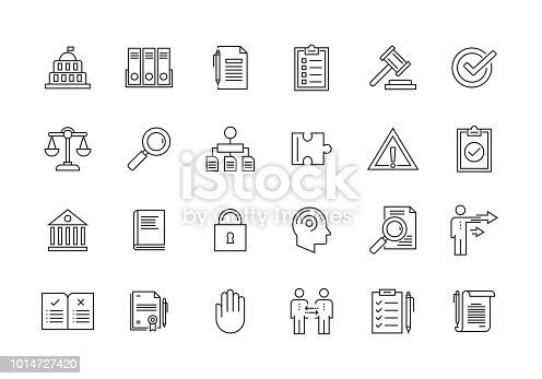 COMPLIANCE AND REGULATIONS LINE ICON SET