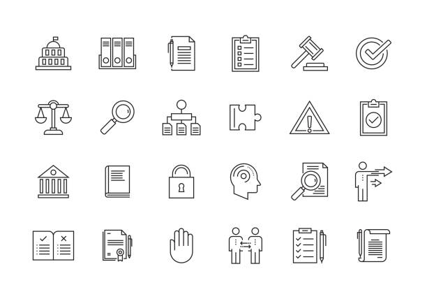 stockillustraties, clipart, cartoons en iconen met naleving en verordeningen lijn icon set - toestand