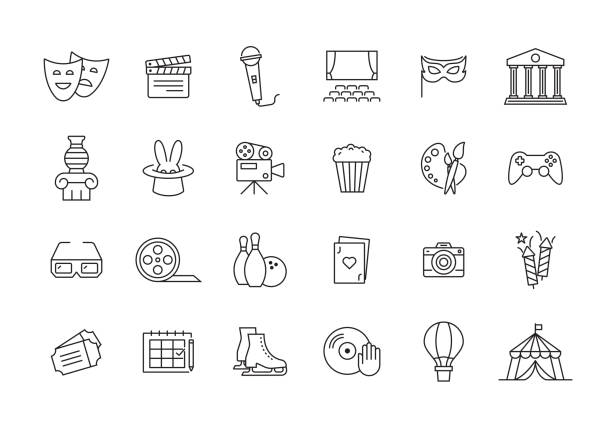 illustrations, cliparts, dessins animés et icônes de divertissement ligne icon set - art