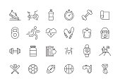 FITNESS AND SPORTS LINE ICON SET