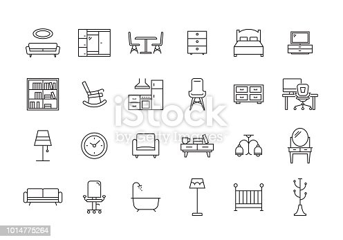 FURNITURE LINE ICON SET