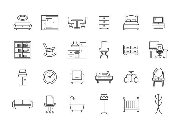 zestaw ikon linii mebli - krzesło stock illustrations