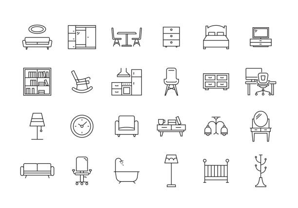 illustrazioni stock, clip art, cartoni animati e icone di tendenza di furniture line icon set - cucina domestica