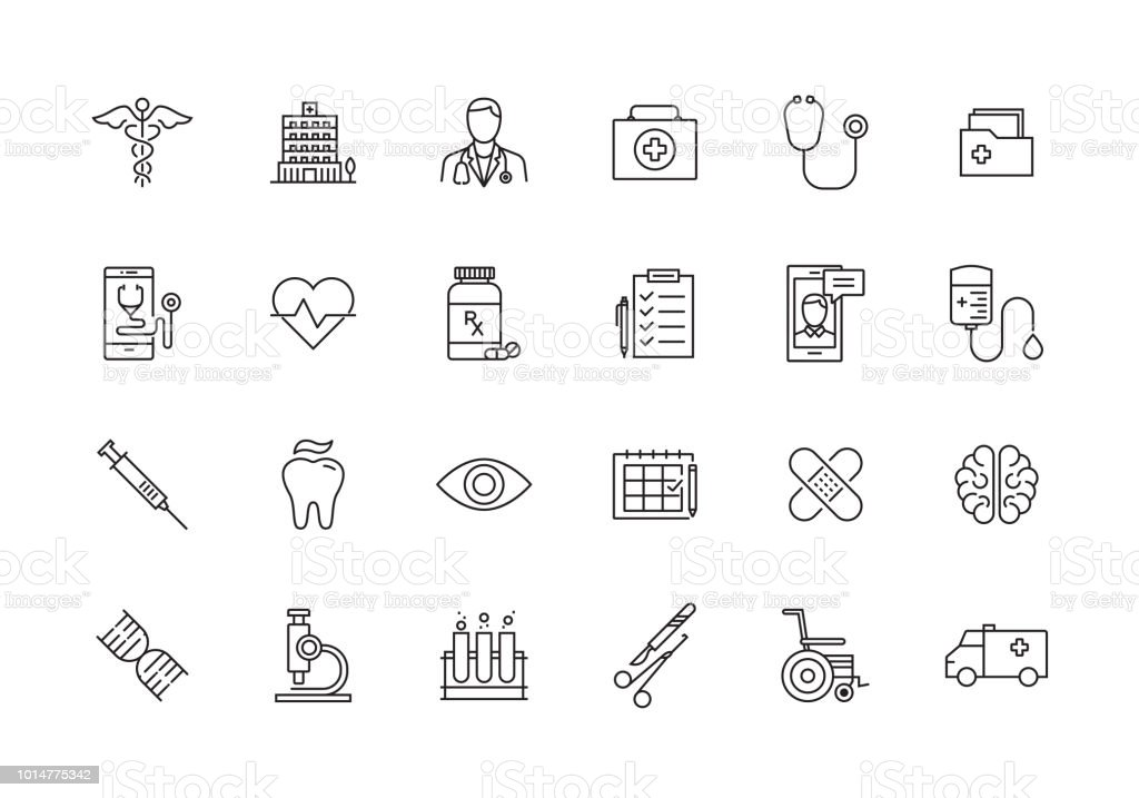 HEALTHCARE AND MEDICAL LINE ICON SET - arte vettoriale royalty-free di Accudire