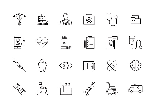 HEALTHCARE AND MEDICAL LINE ICON SET clipart