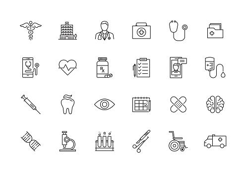 Healthcare And Medical Line Icon Set - Immagini vettoriali stock e altre immagini di Accudire