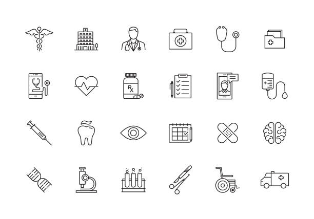 illustrazioni stock, clip art, cartoni animati e icone di tendenza di healthcare and medical line icon set - farmaco