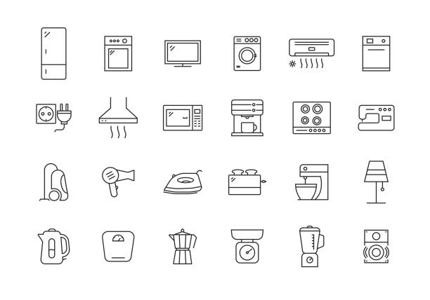 HOUSEHOLD LINE ICON SET HOUSEHOLD LINE ICON SET oven stock illustrations