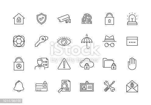 SECURITY AND PROTECTION LINE ICON SET