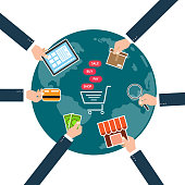 Businessman holding tablet, credit card,cash,store shop ,delivery,magnifying glass and cart for online shopping on world  background. Vector illustration  e-commerce concept.