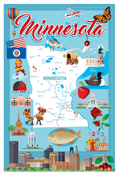 MINNESOTA VECTOR MINNESOTA  I have used  http://legacy.lib.utexas.edu/maps/united_states/fed_lands_2003/minnesota_2003.pdf address as the reference to draw the basic map outlines with Illustrator CS5 software, other themes were created by  myself. loon bird stock illustrations