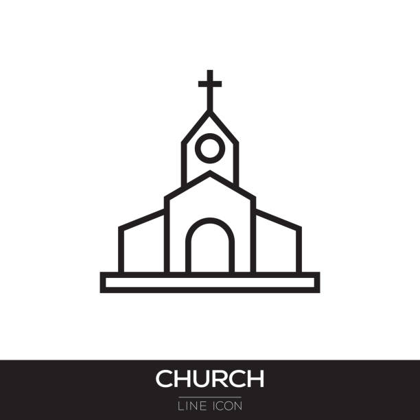 CHURCH LINE ICON CHURCH LINE ICON church stock illustrations