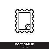 POSTAGE STAMP LINE ICON