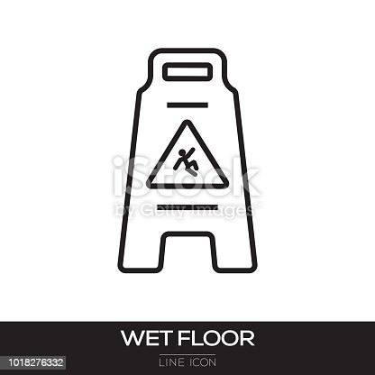 WET FLOOR SIGN LINE ICON