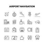 AIRPORT NAVIGATION LINE ICONS SET