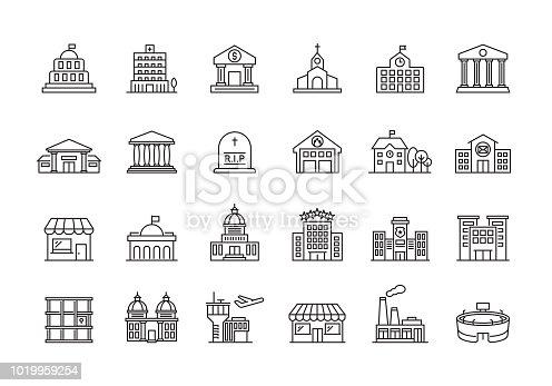 PUBLIC BUILDINGS LINE ICON SET
