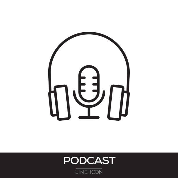 ilustrações, clipart, desenhos animados e ícones de ícone de linha de podcast - podcast