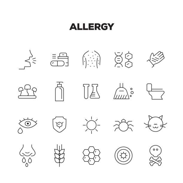 ALLERGY LINE ICONS SET ALLERGY LINE ICONS SET pollen stock illustrations