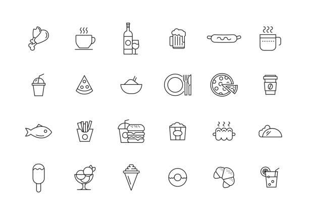 essen und trinken-linie-icon-set - fischglas stock-grafiken, -clipart, -cartoons und -symbole