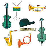 Vector set with music instrument: guitar, piano, saxophone, cornet, french horn, violin drum Flat style