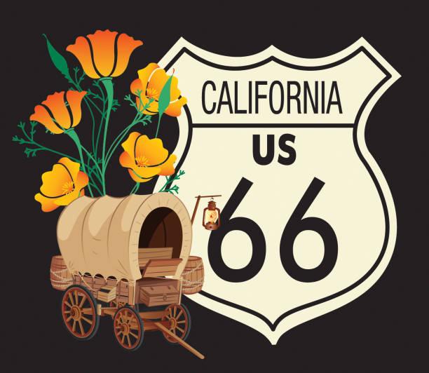 stockillustraties, clipart, cartoons en iconen met road 66 californië - arizona highway signs