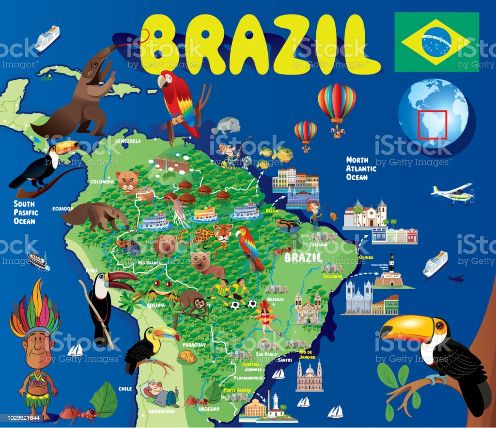 Cartoon Map Of Brazil Stock Vector Art & More Images of Amazon ...