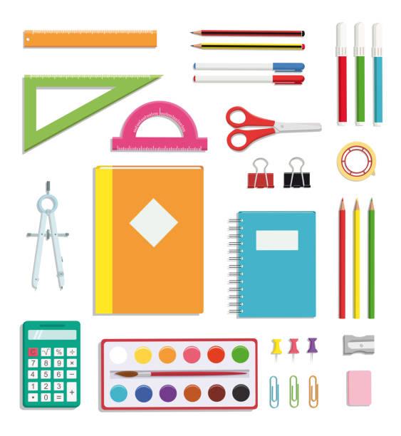 stockillustraties, clipart, cartoons en iconen met school supplies set - schoolspullen