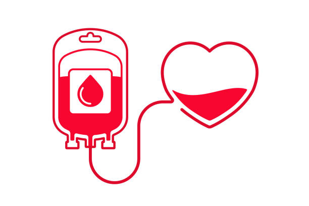 Blood donation vector illustration. Donate blood concept with Blood Bag and heart. World blood donor day - June 14. vector art illustration