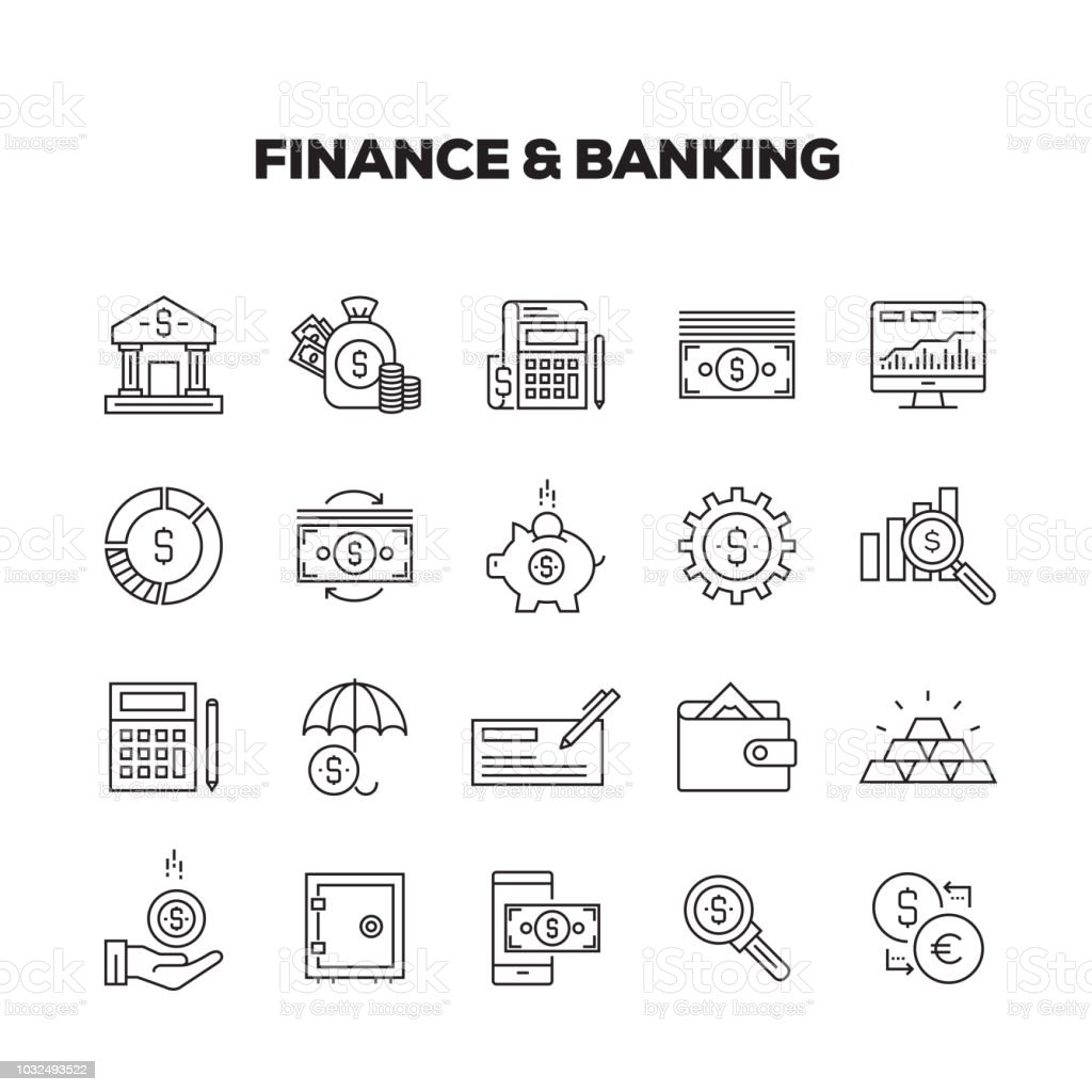 FINANCE AND BANKING LINE ICONS SET vector art illustration